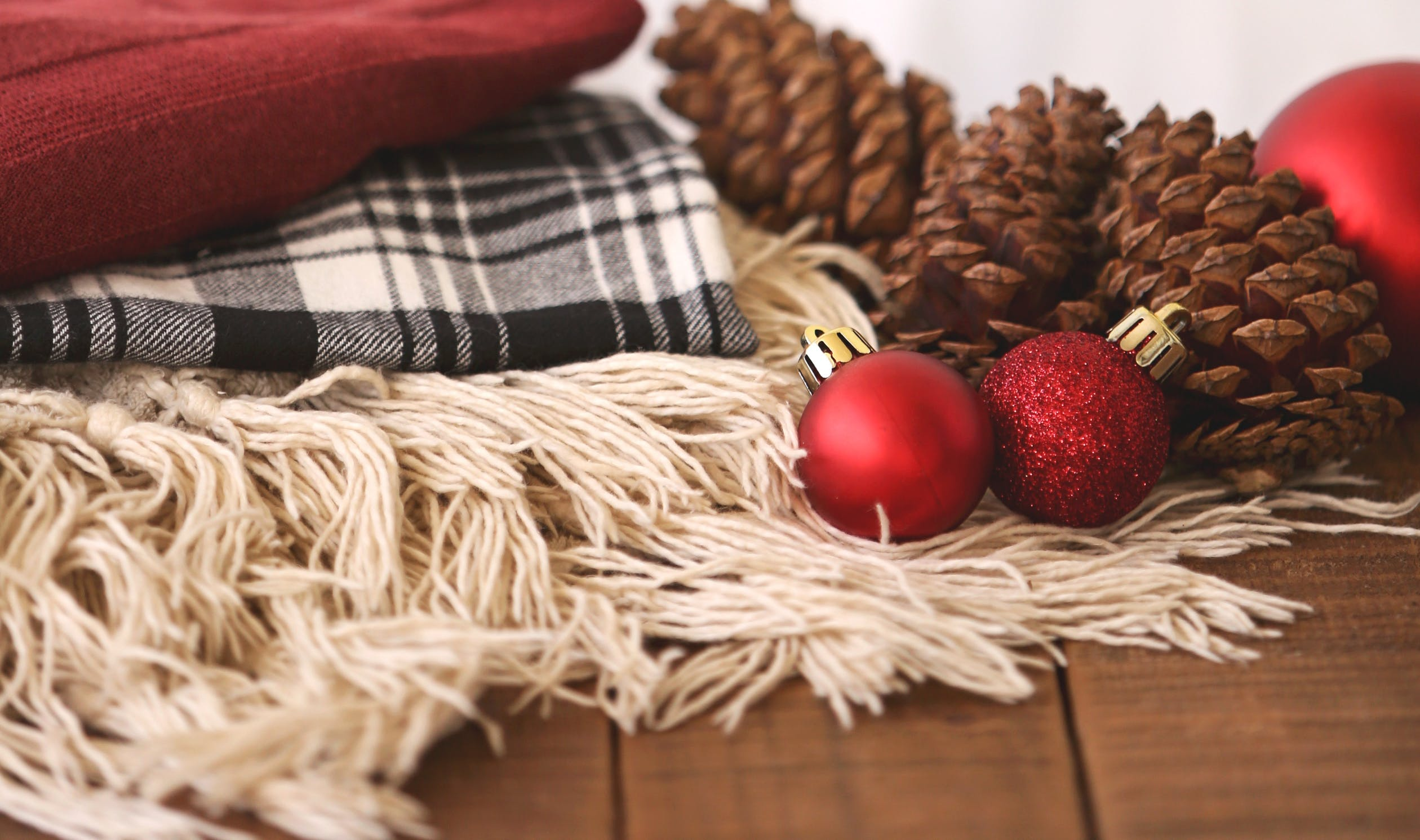 holiday decor and blankets