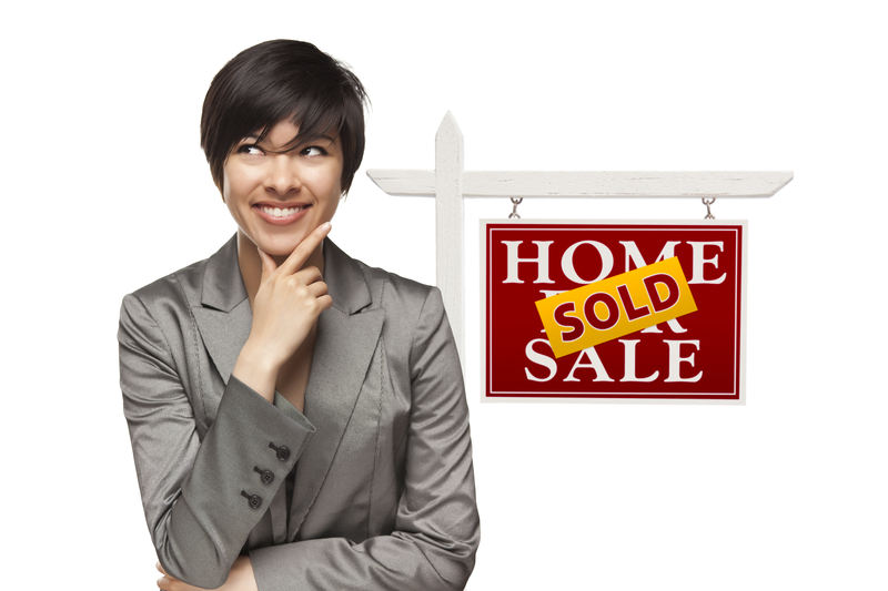Woman selling organized home.