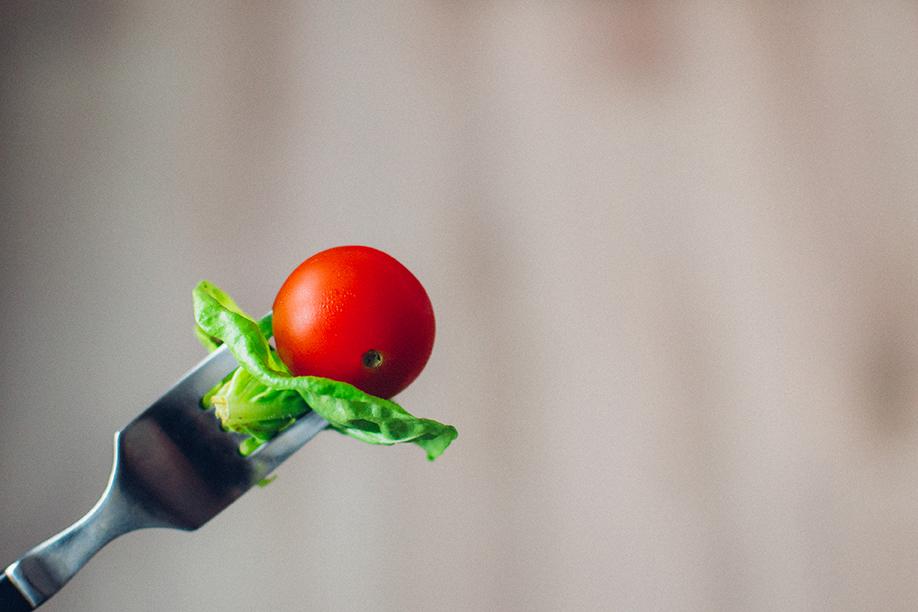 veggies on a fork