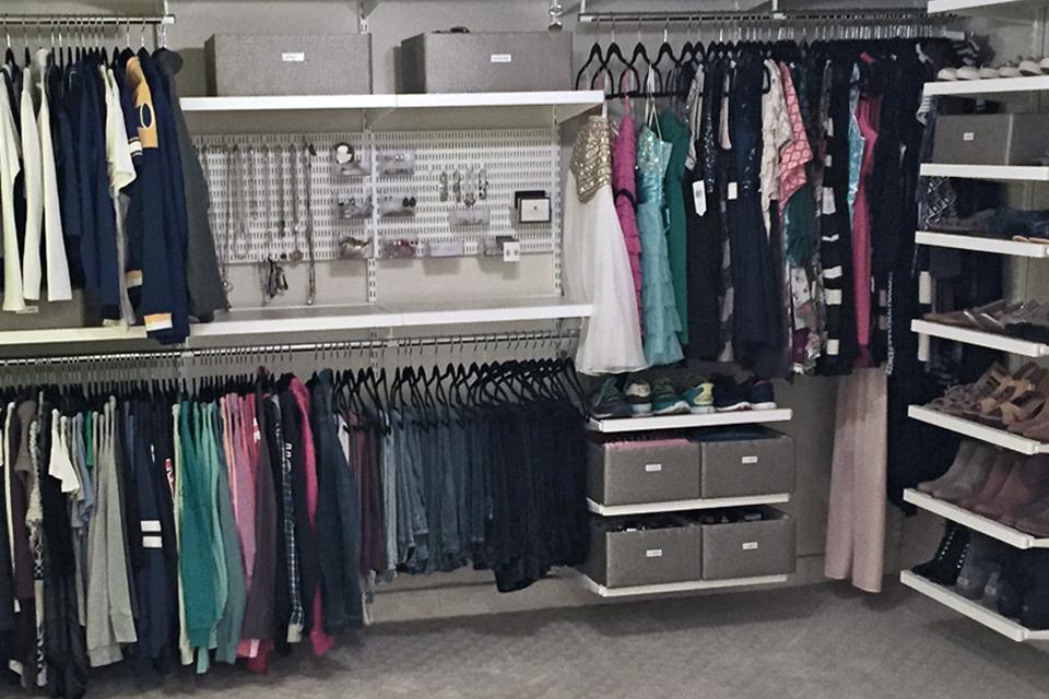 Elfa Closet System Installed In A Girls Room