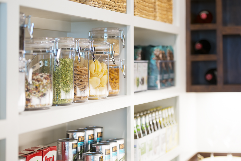 jars of food in an organized pantry