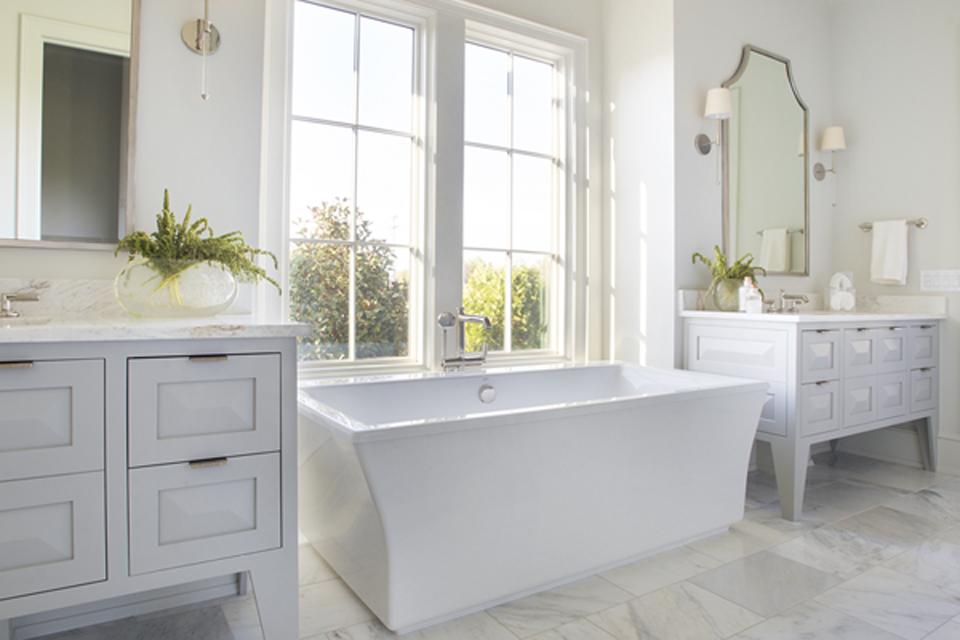 organized master bath with tub