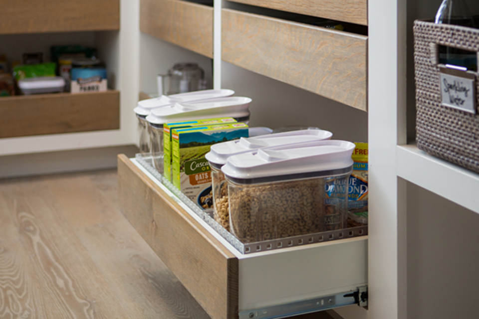 pull out drawer in a pantry