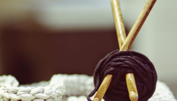 yarn project with knitting needles