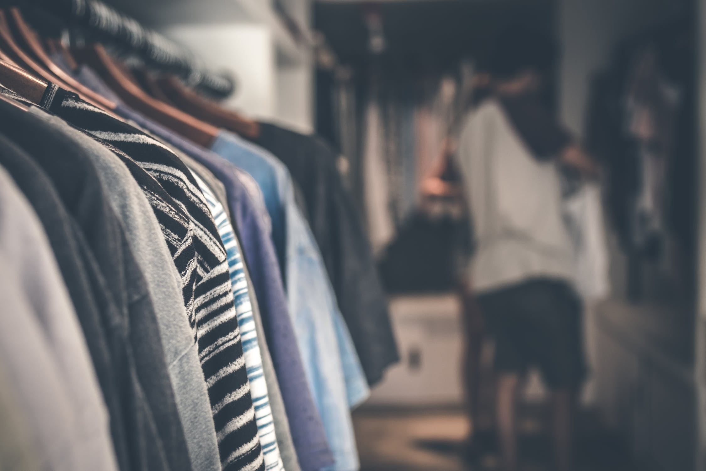 clothing at a thrift shop