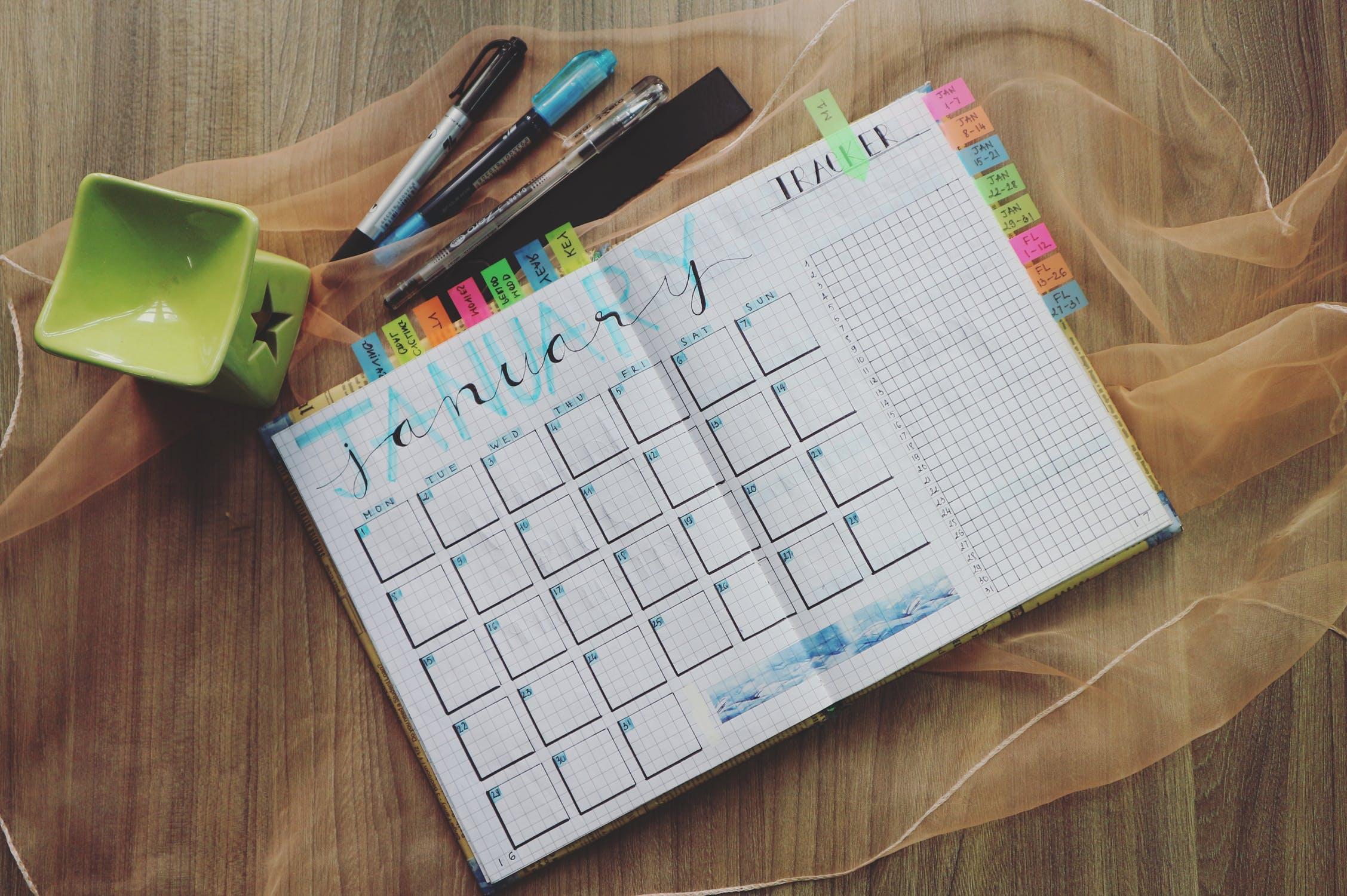 january calendar schedule rest