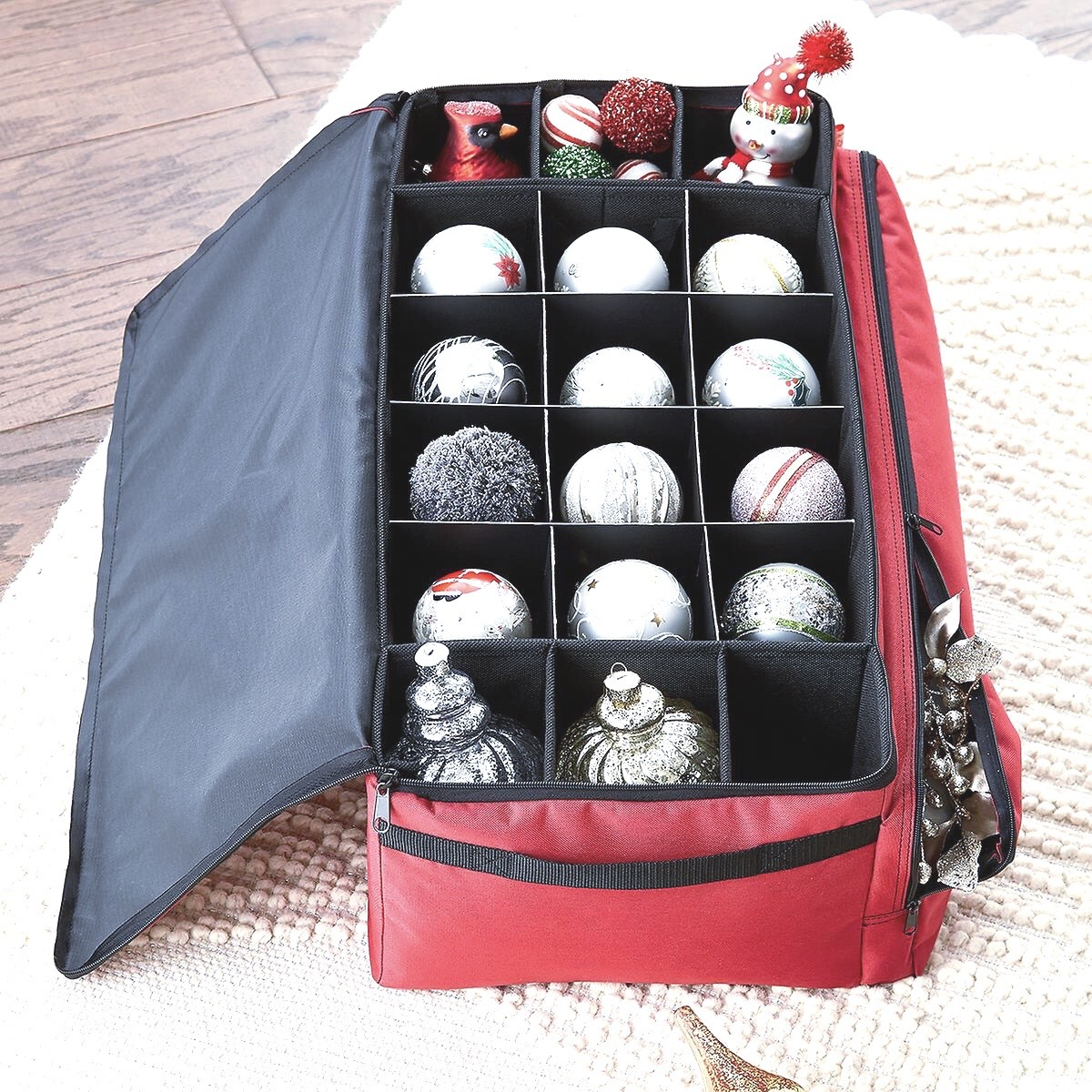 organized ornaments in container store red ornament box